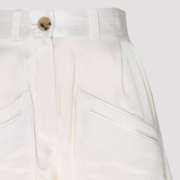 White silk tapered pants