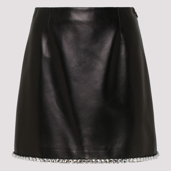 Black leather skirt with...