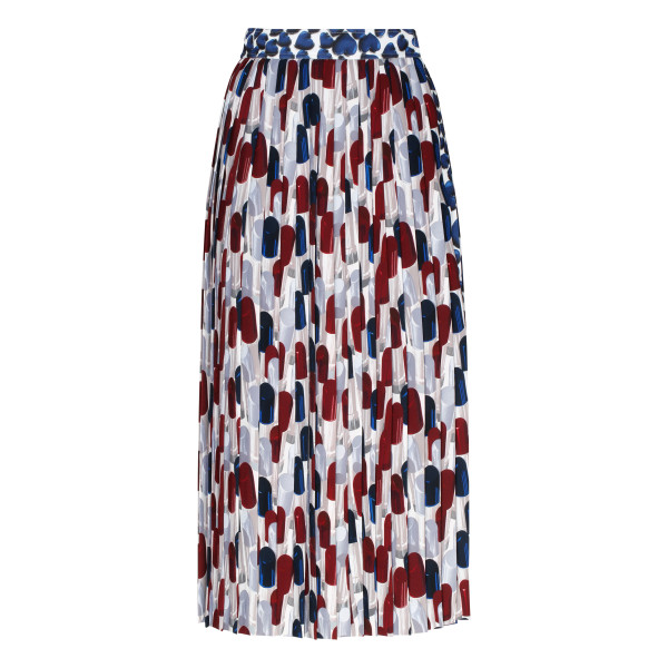 Abstract-print pleated skirt
