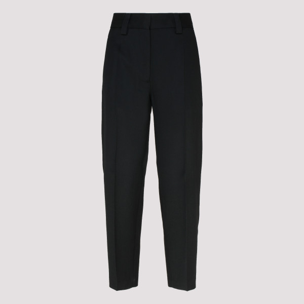 Black Tapered wool-blend pants