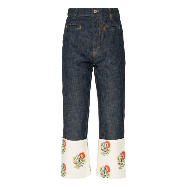 Flower embroidery Fisherman Jeans