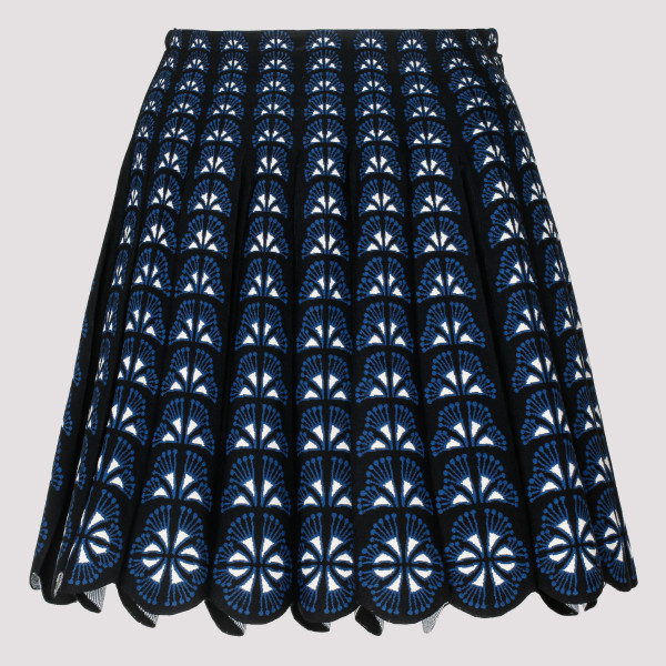 Pleated jacquard-knit skirt