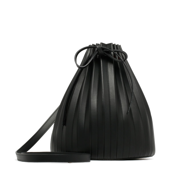 Black Leather pleated bucket bag