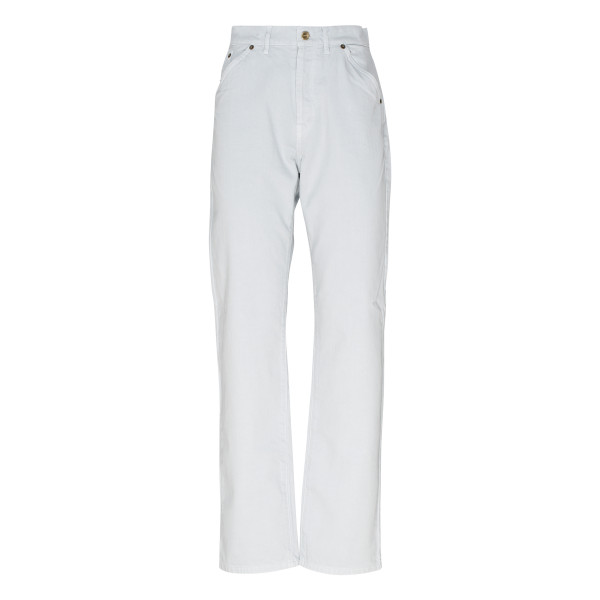 White plain straight-leg jeans