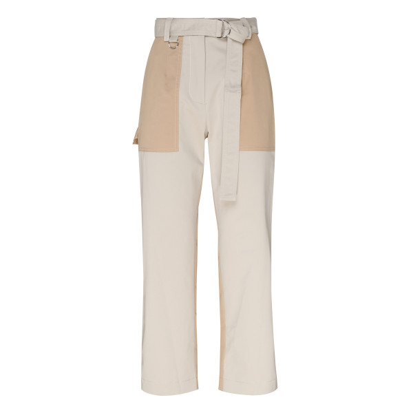 Beige patched cropped pants