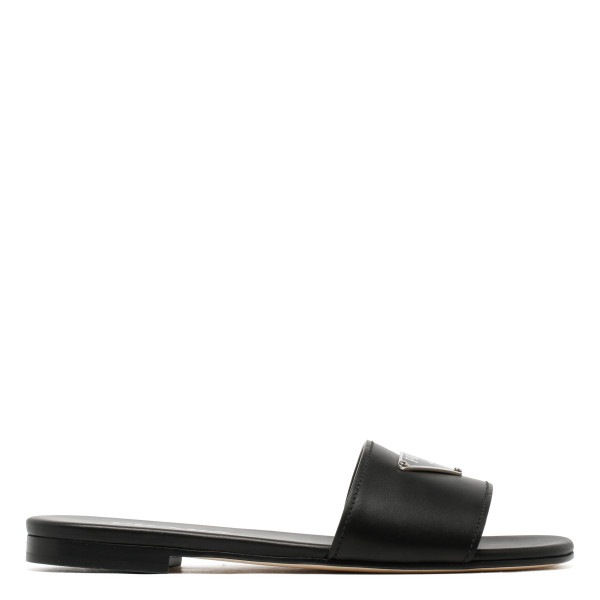 Black leather flats with logo