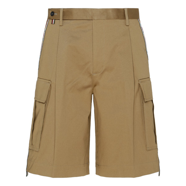 Beige multipockets shorts