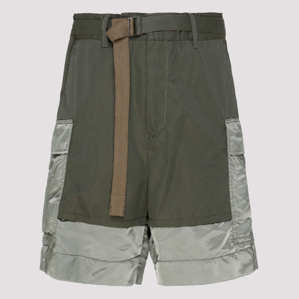 Green Panelled cargo shorts
