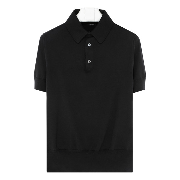 Black knitted cotton polo