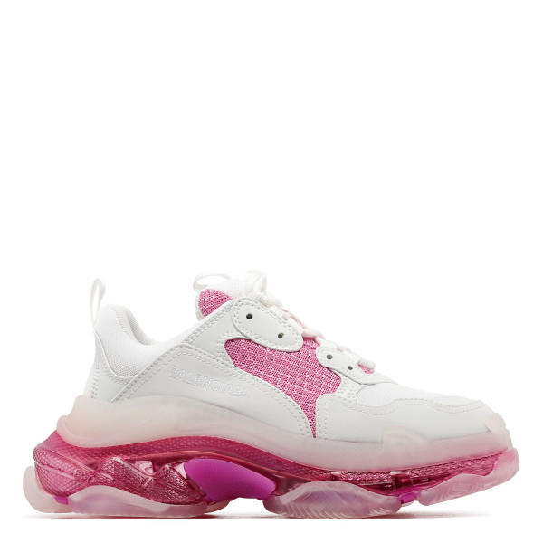 Triple S clear sole white and pink sneakers