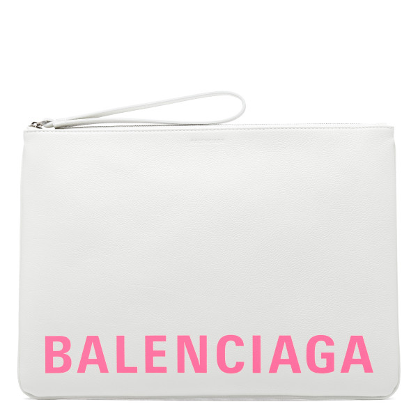 White leather large pouch