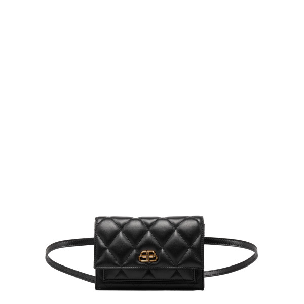 BB black quilted leather belt bag