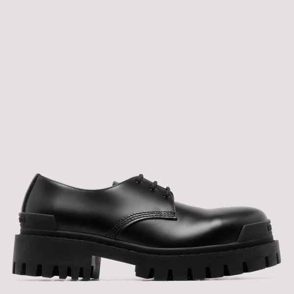 Black lace-up leather Derby...