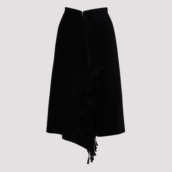 Black wool-blend skirt