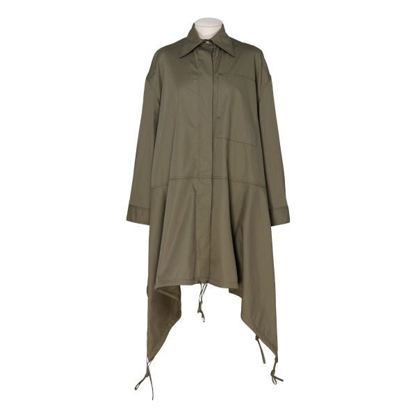 Military green Drawstring Shirt Parka