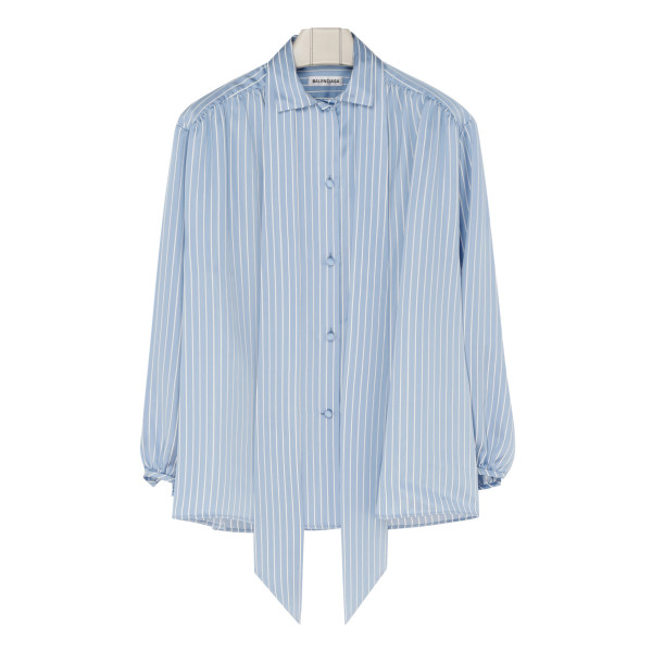 Blue and white striped scarf blouse