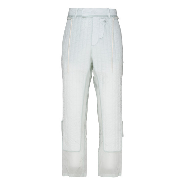 Fitted quilted panel trousers