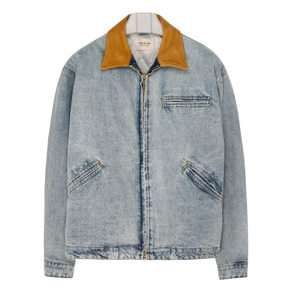 Blue denim jacket with contrasting collar