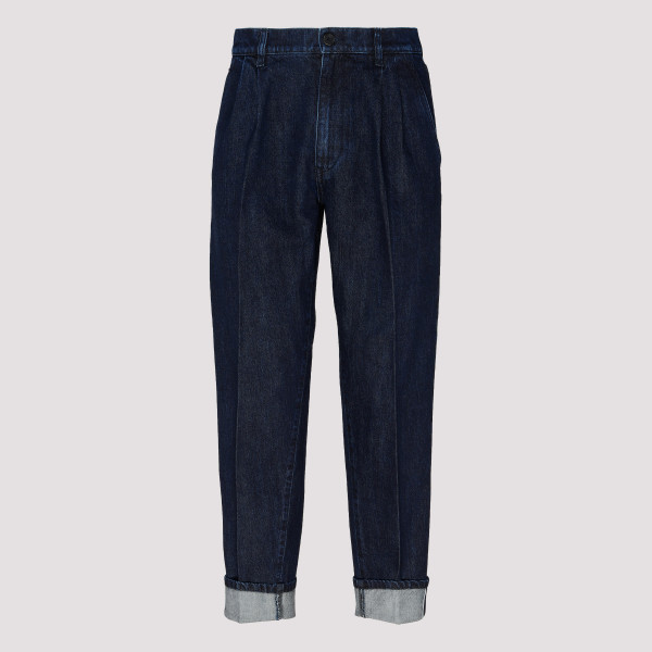 Logo Plaque Cuffed Jeans