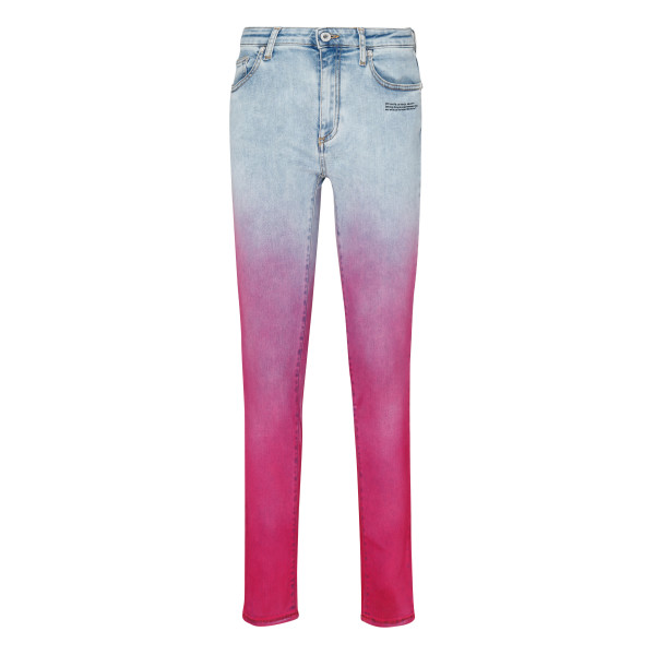 Faded pink denim jeans