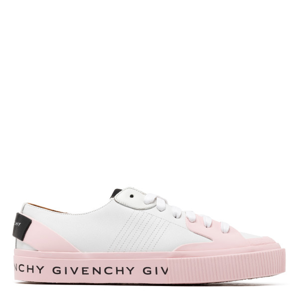 White and pink logo sneakers