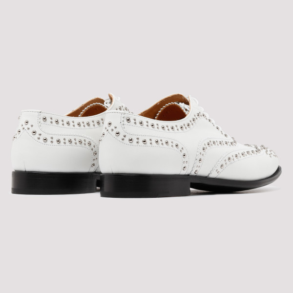White Oxford Brogue Stud shoes