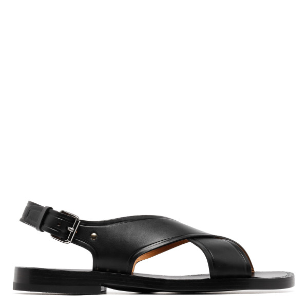 Dover black leather sandals