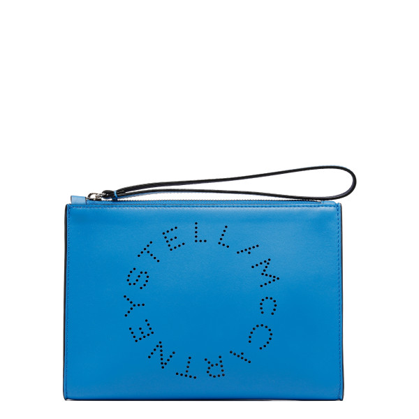 Blue perforated logo pouch