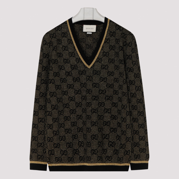 GG lamé black and gold sweater