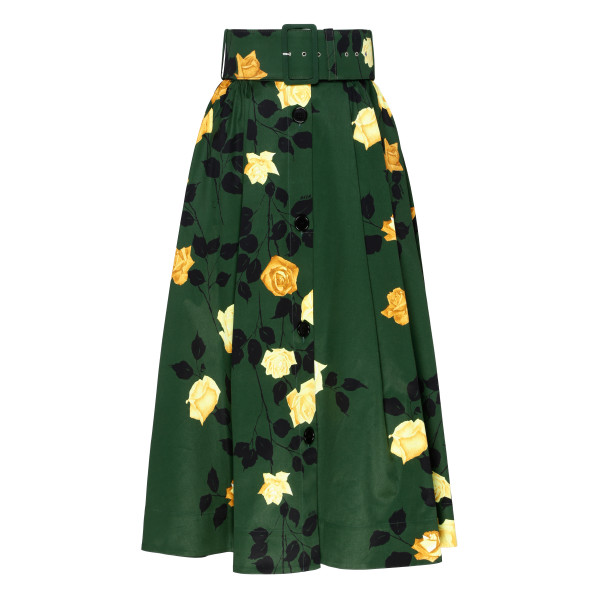 Green skirt with roses pattern
