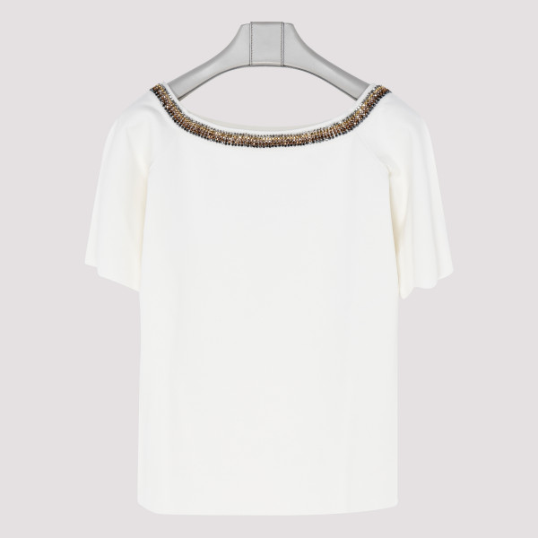 White T-shirt with studs