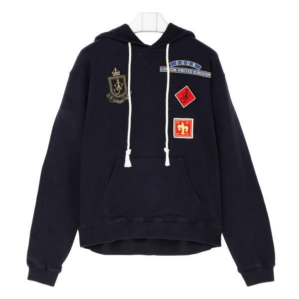 Blue Cotton Sweatshirt with patches