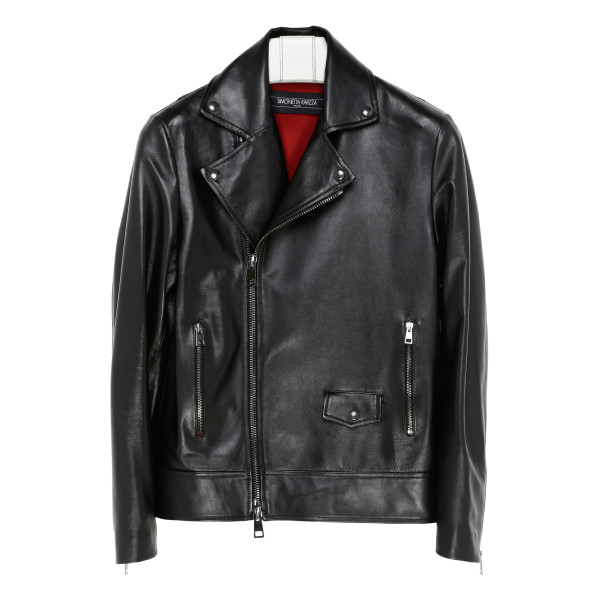 Black leather zipped jacket