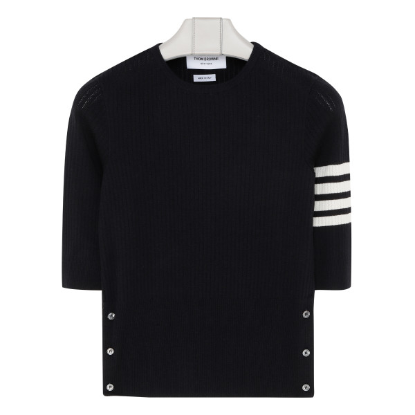 Four-bar navy knitted top