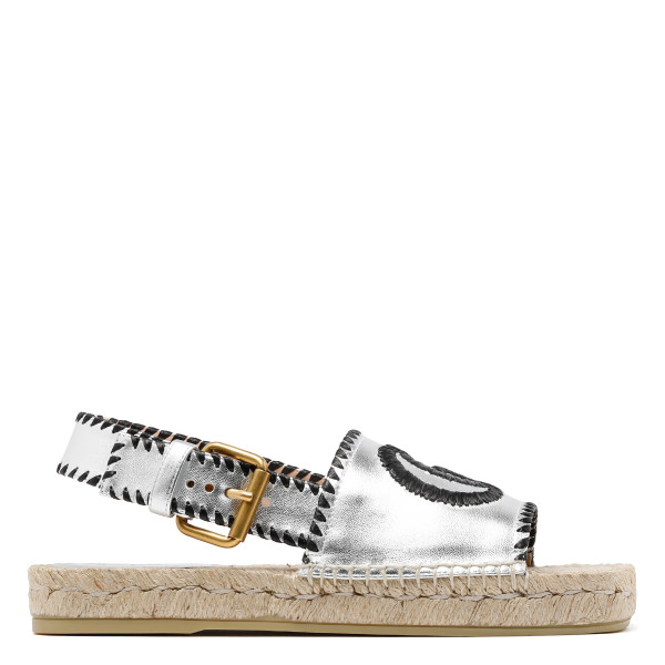 Silver Metallic leather espadrille sandals