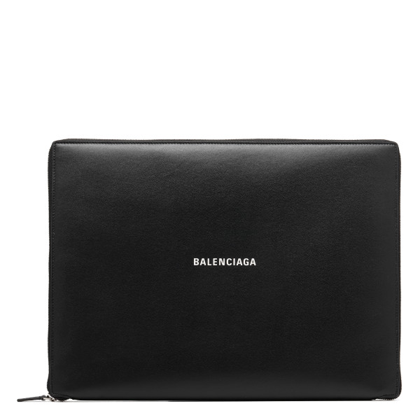 Black leather zip around laptop pouch