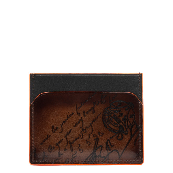 Brown Bambou Neo Scritto Leather Card Holder