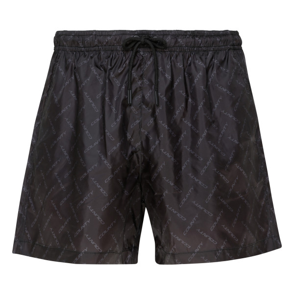 Black drawstring track shorts