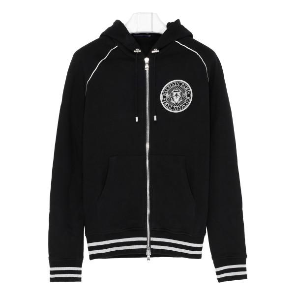 Black hoodie with logo crest