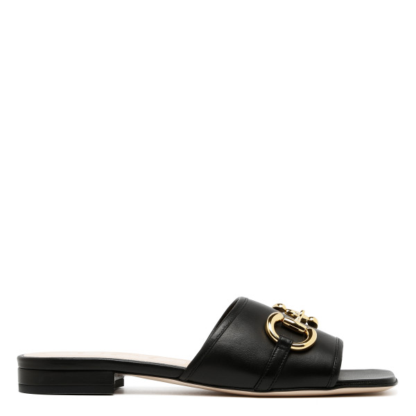 Black leather slide flats with Horsebit