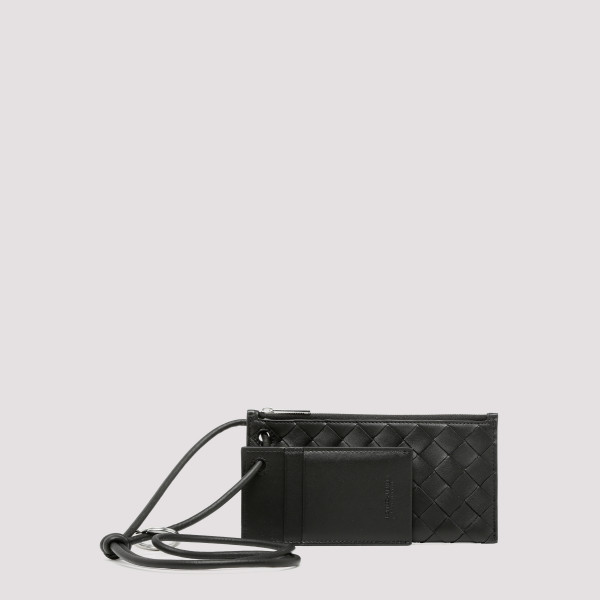 Black leather double pouch