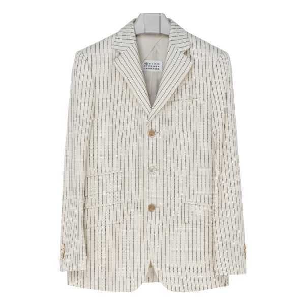 Logo-stripe single-breasted jacket