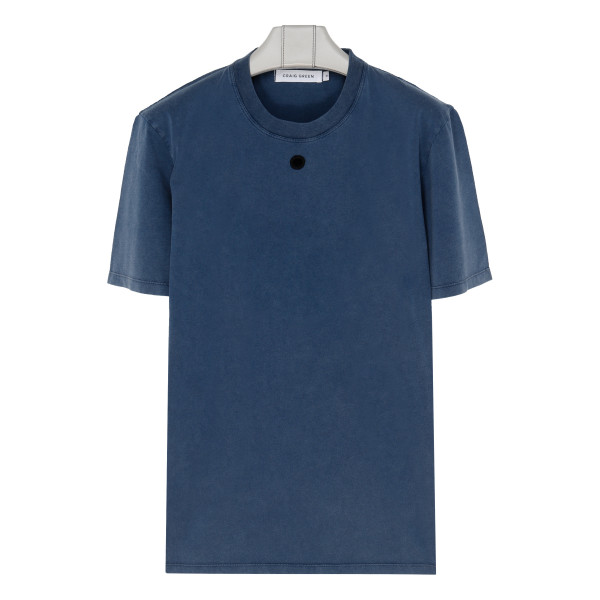 Embroidered hole blue T-shirt