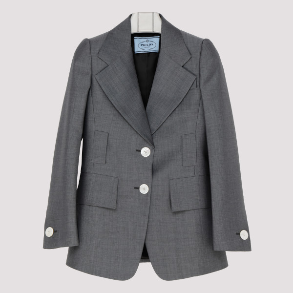 Gray mohair and wool blend blazer