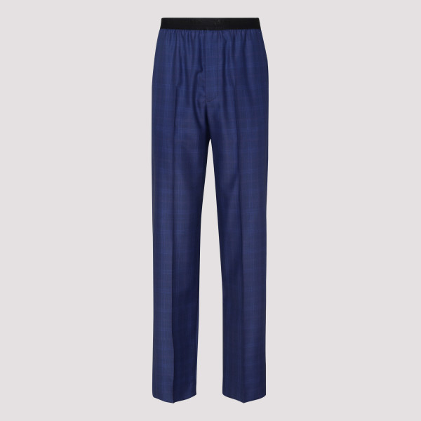 Blue wool and silk pants