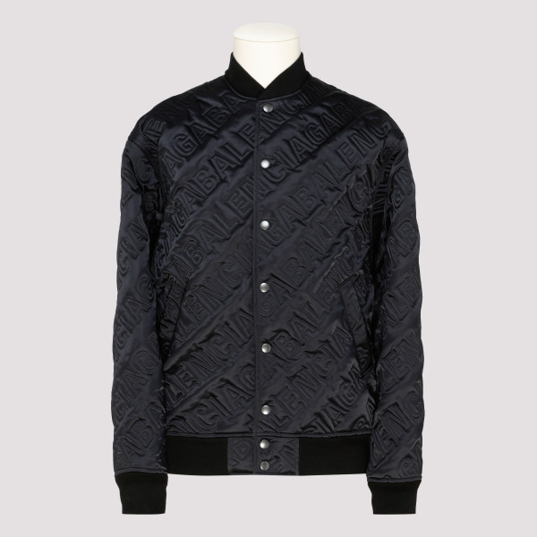 Black Allover Logo Quilted Bomber