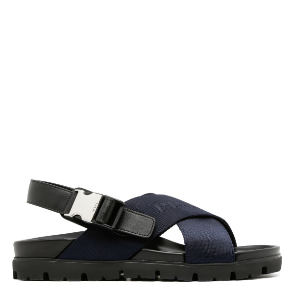 Blue criss cross Logo Sandals