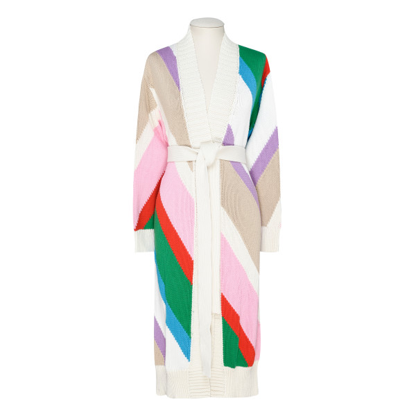 Multicolor belted cardigan
