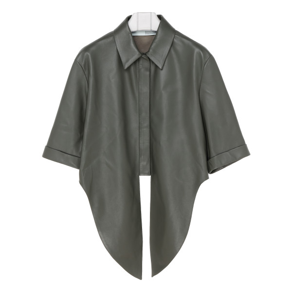Military green leather shirt