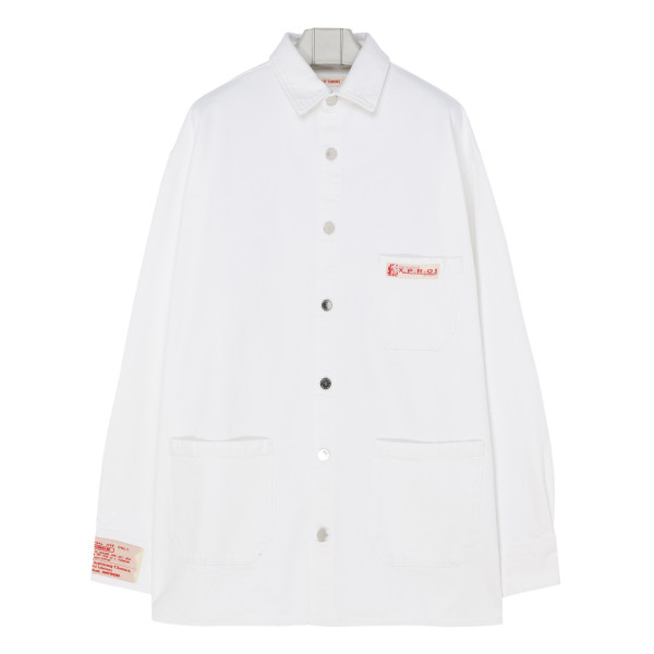 White cotton shirt jacket
